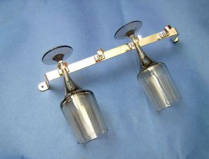 4x GLASS Rack/HOLDER. Boats/kitchen/caravan.CHROME/NICKEL